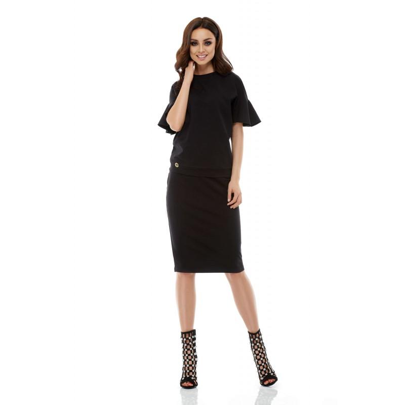 Costum de dama negru cu fusta dreapta si bluza
