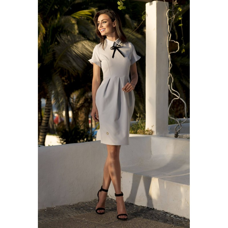 Rochie eleganta cu guler si funda decorativa gri-deschis