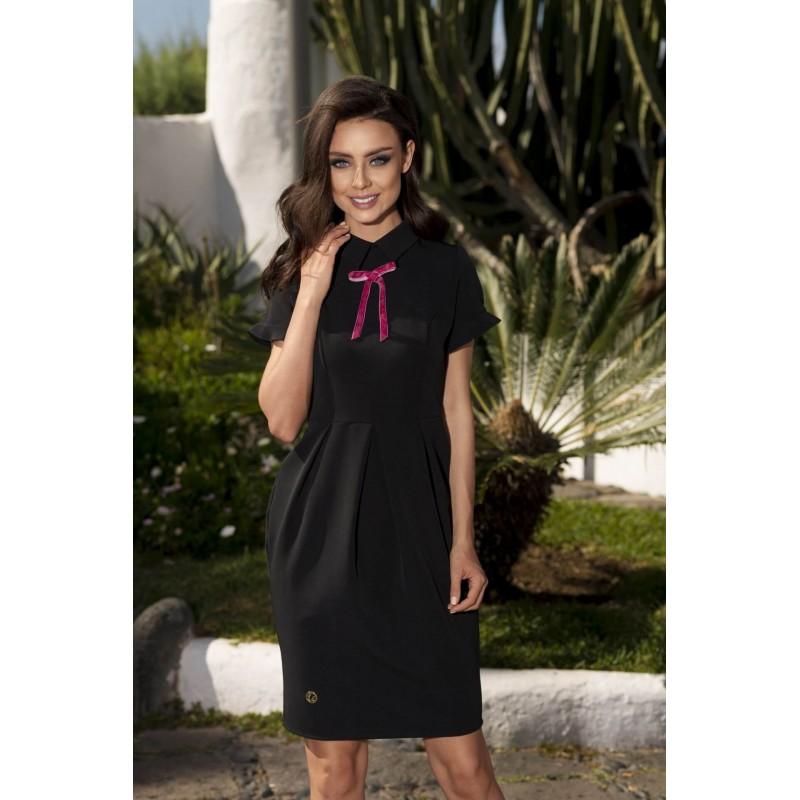 Rochie eleganta cu guler si funda decorativa neagra