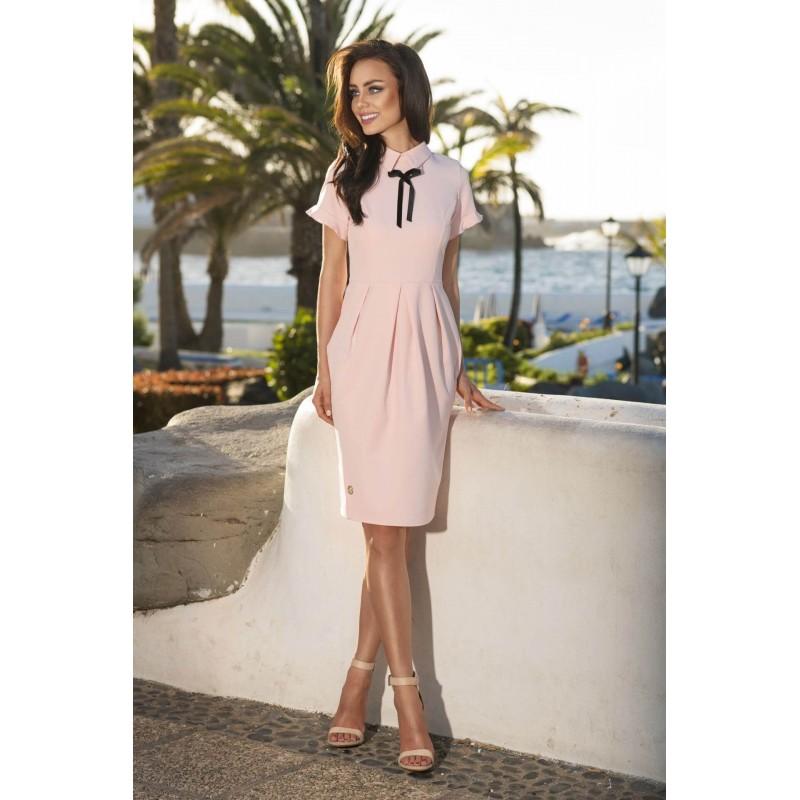 Rochie eleganta cu guler si funda decorativa roz