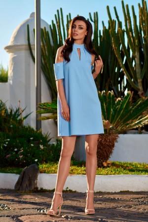 Rochie bleu mini cu decupaje si maneci scurte