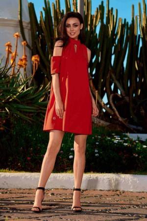 Rochie rosie mini cu decupaje si maneci scurte