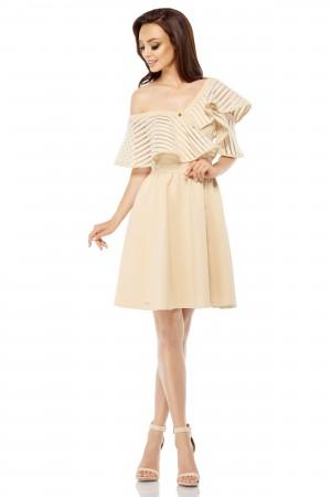 Rochie eleganta bej cu volan si butoni aurii decorativi
