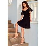Rochie eleganta neagra cu volan si butoni aurii decorativi