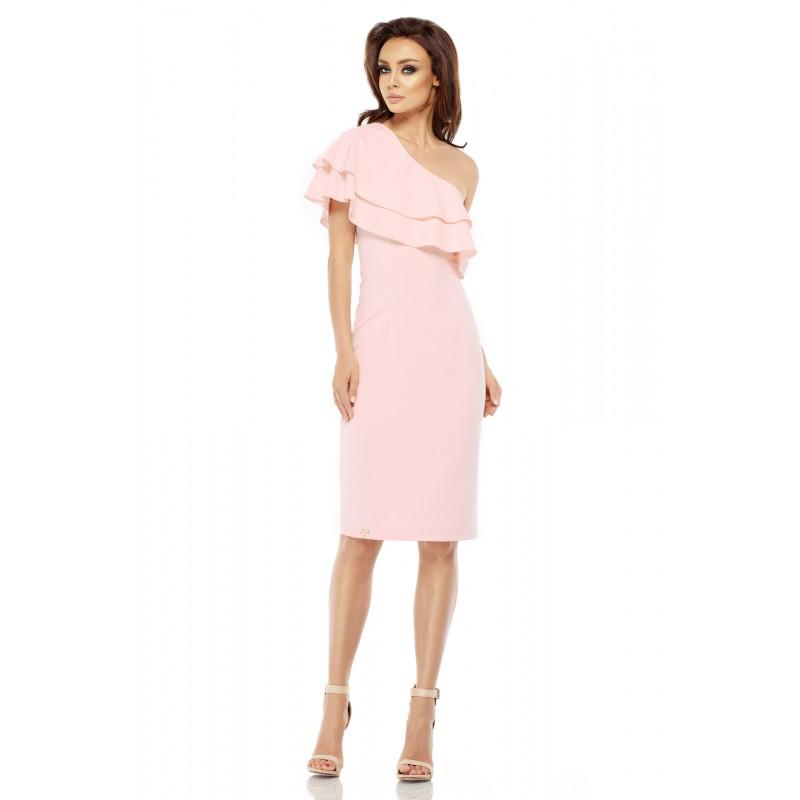 Rochie roz dreapta cu volane decorative si umar gol
