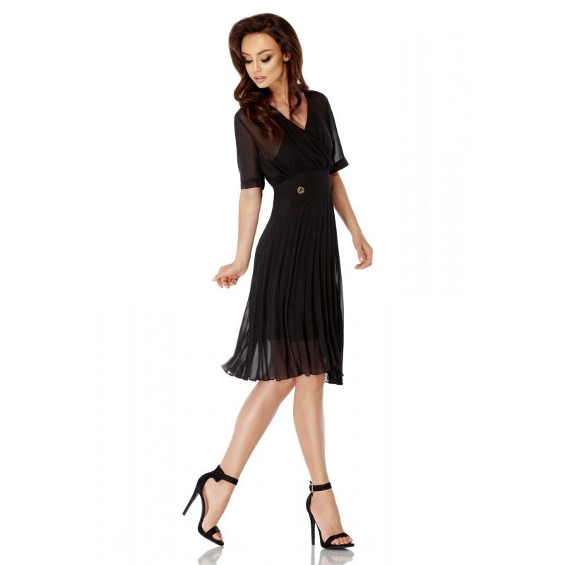 Rochie neagra eleganta diafana cu pliuri