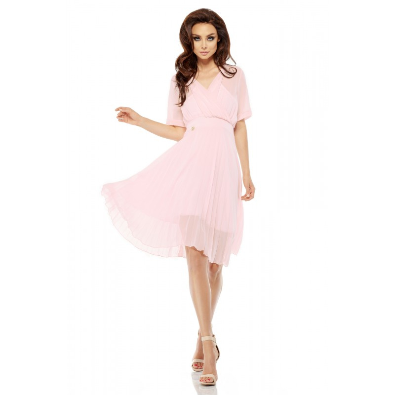 Rochie roz deschis eleganta diafana cu pliuri