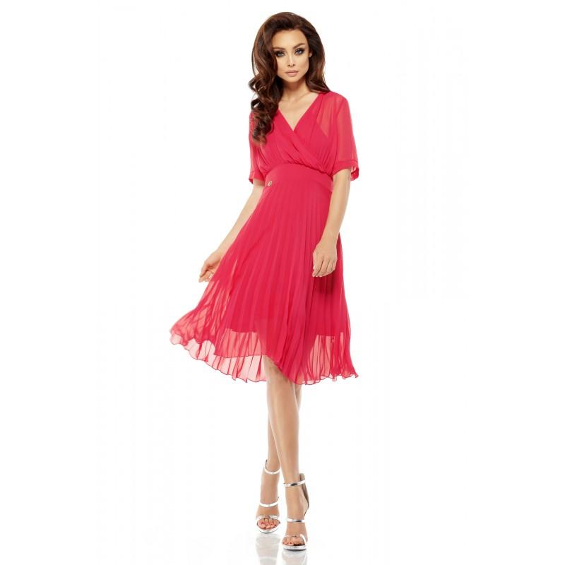 Rochie roz zmeura eleganta diafana cu pliuri