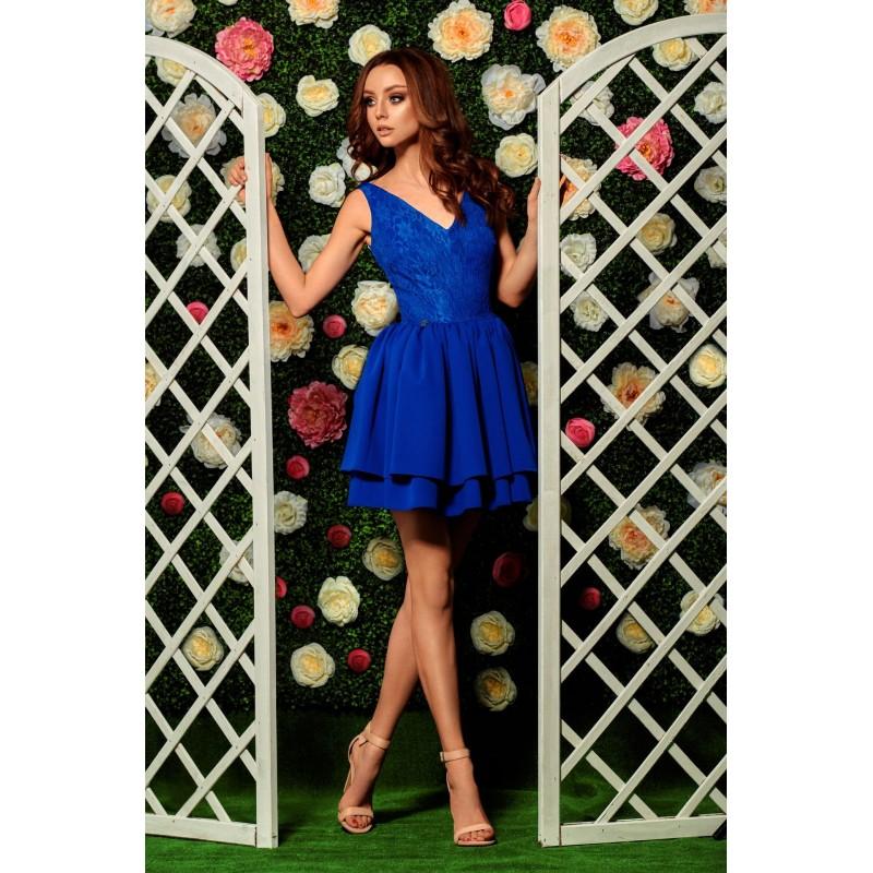 Rochie de seara albastra cu dantela la nivelul corsetului