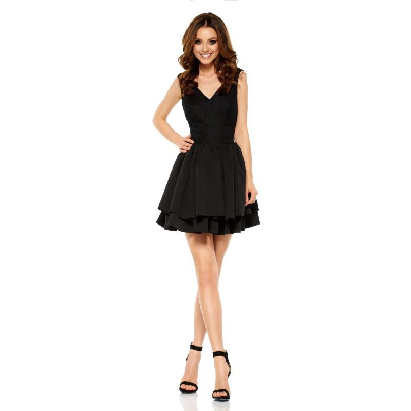 Rochie de seara neagra cu dantela la nivelul corsetului