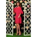 Rochie de seara cu pelerina din voal rosie