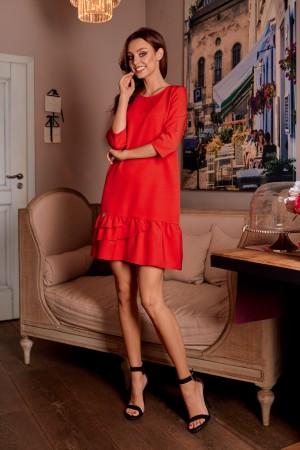 Rochie casual cu maneci trei sferturi rosie