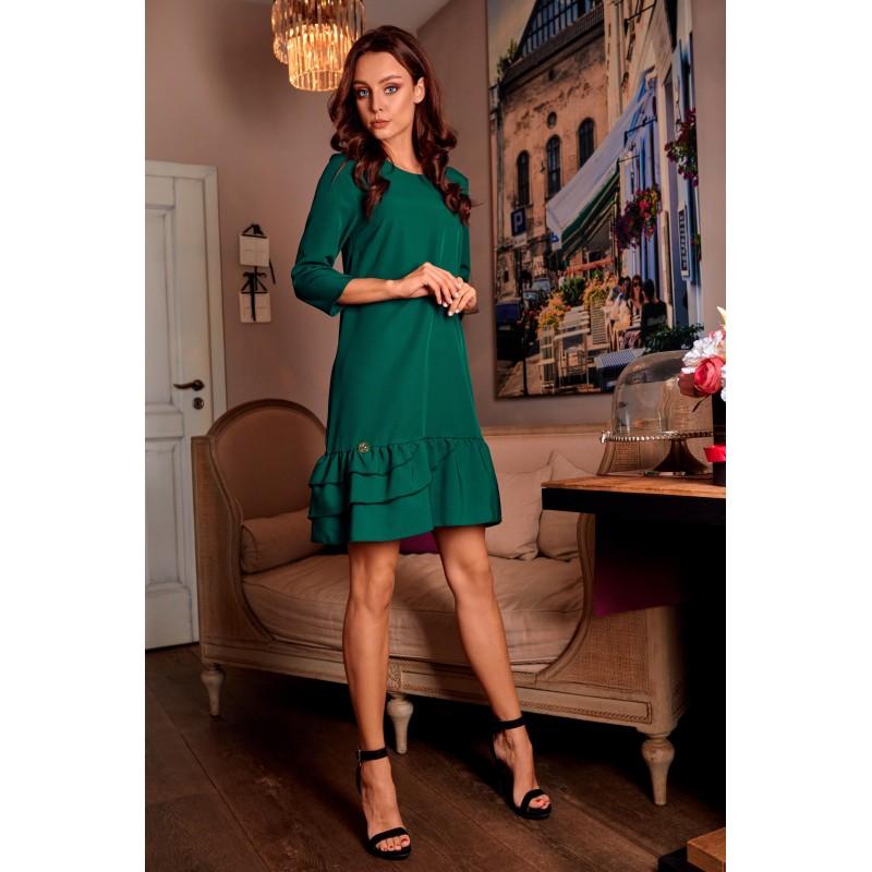Rochie casual cu maneci trei sferturi verde