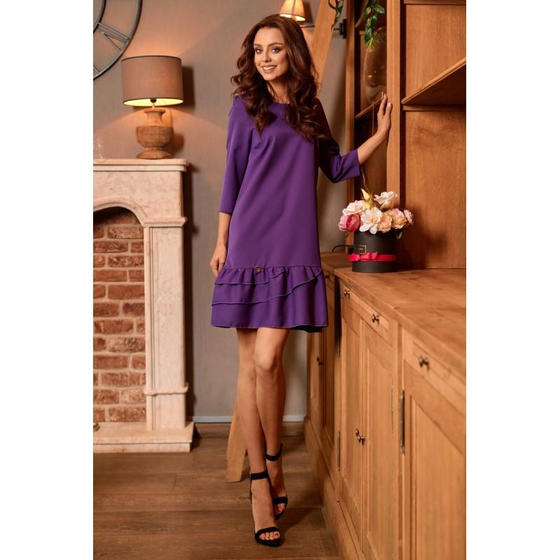Rochie casual cu maneci trei sferturi violet