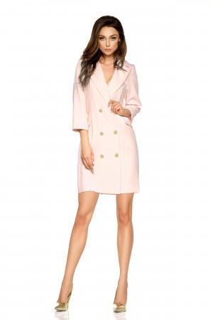 Rochie tip sacou roz mini cu butoni decorativi