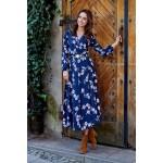 Rochie lunga bleumarin cu model floral si decolteu in V