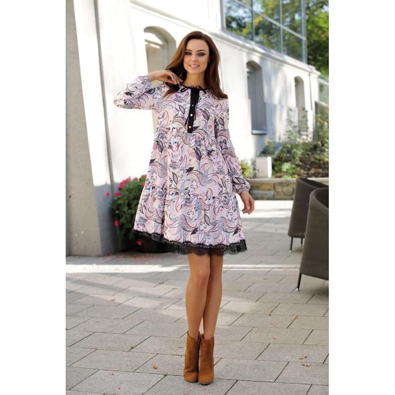 Rochie eleganta bej cu model floral si dantela