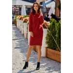 Rochie bordo cu model decorativ impletit