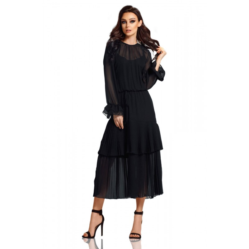 Rochie boho lunga neagra cu volane