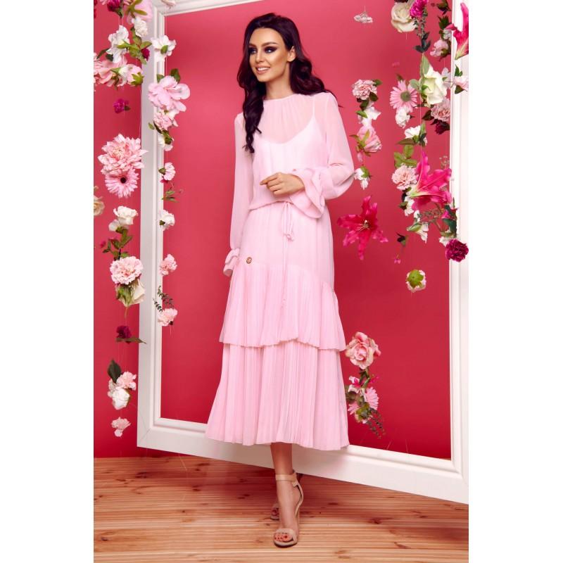 Rochie boho lunga roz cu volane