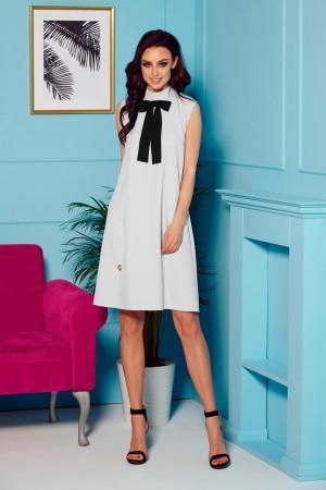 Rochie eleganta de zi gri-deschis cu funda la gat