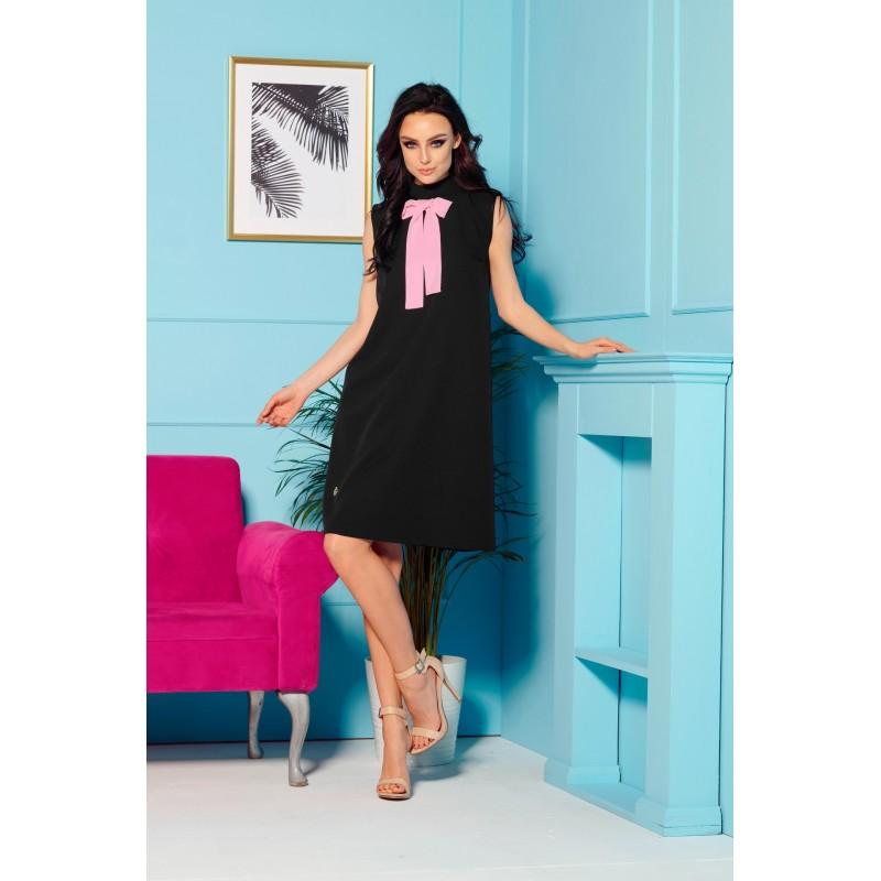 Rochie eleganta de zi neagra cu funda la gat