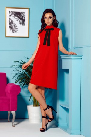 Rochie eleganta de zi rosie cu funda la gat