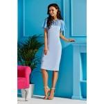 Rochie cambrata albastra cu insertie transparenta
