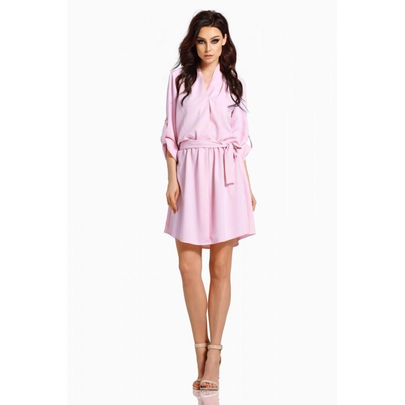Rochie cu cordon in talie roz