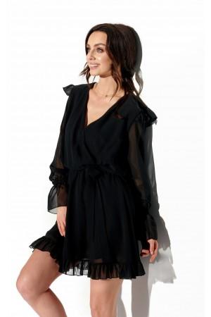 Rochie eleganta neagra mini cu maneci transparente