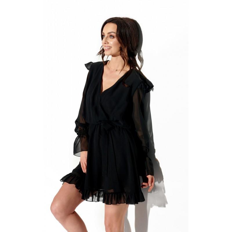 Rochie cu maneci scurte eleganta mini neagra din voal