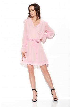 Rochie eleganta roz mini cu maneci transparente