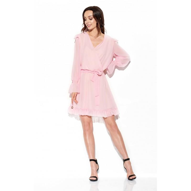 Rochie cu maneci scurte eleganta mini roz din voal