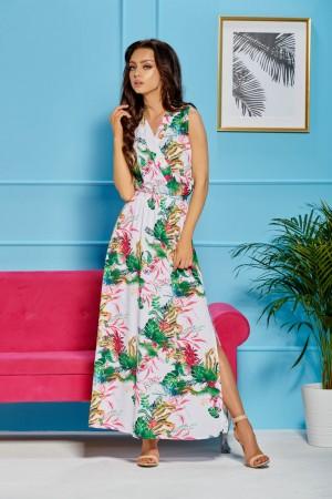 Rochie Arla alba lunga cu imprimeu floral