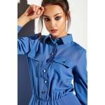 Rochie maxi tip camasa albastra