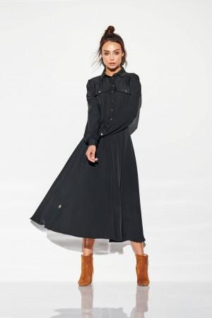 Rochie maxi tip camasa neagra