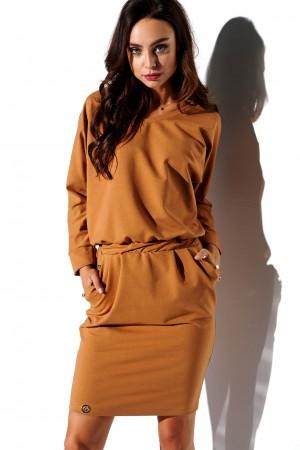 Rochie cu maneca lunga Camel