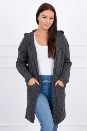 Cardigan de dama tricotat cu buzunare laterale si gluga