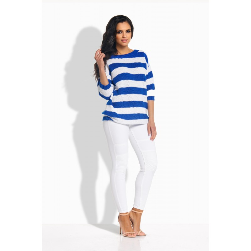 Pulover de dama tricotat cu decupaj si funda decorativa albastru
