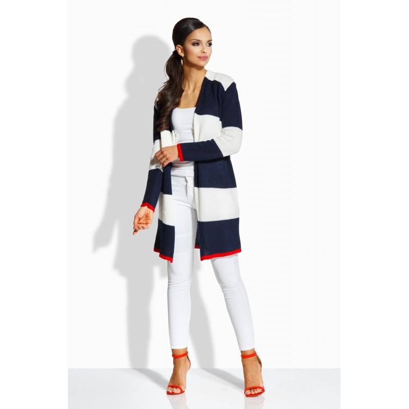 Cardigan dama cu lungime medie in doua culori alb-bleumarin