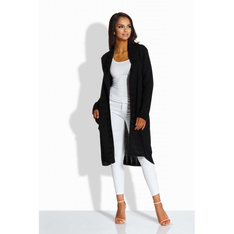 Cardigan lung de dama asimetric cu buzunare laterale negru