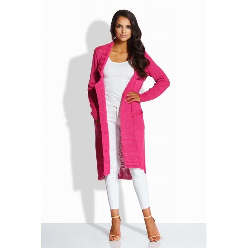 Cardigan lung de dama asimetric cu buzunare laterale pink