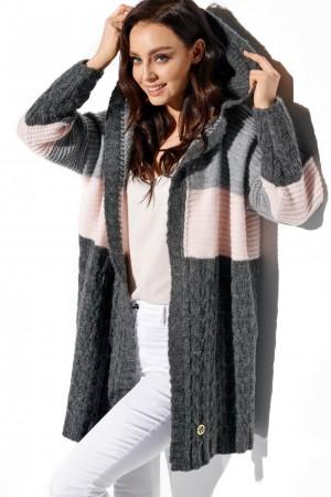 Cardigan 3 culori cu lungime medie si gluga gri-inchis