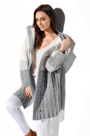 Cardigan dama 3 culori cu lungime medie si gluga