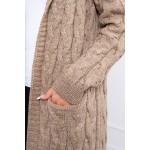 Cardigan tricotat cu torsade bej-inchis