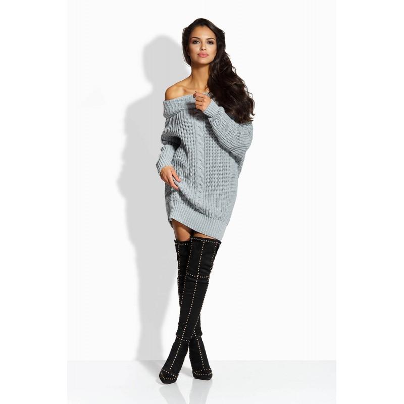 Rochie tricotata cu umerii goi gri deschis