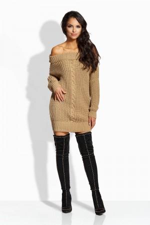 Rochie tricotata cu umerii goi maro