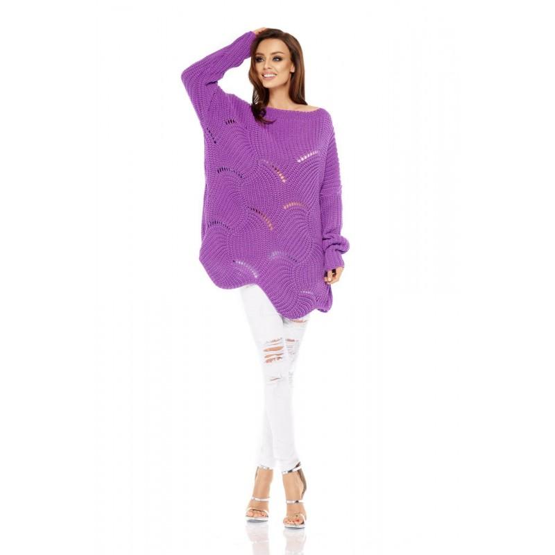 Pulover lung dama supradimensionat violet