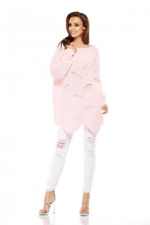 Pulover lung supradimensionat roz