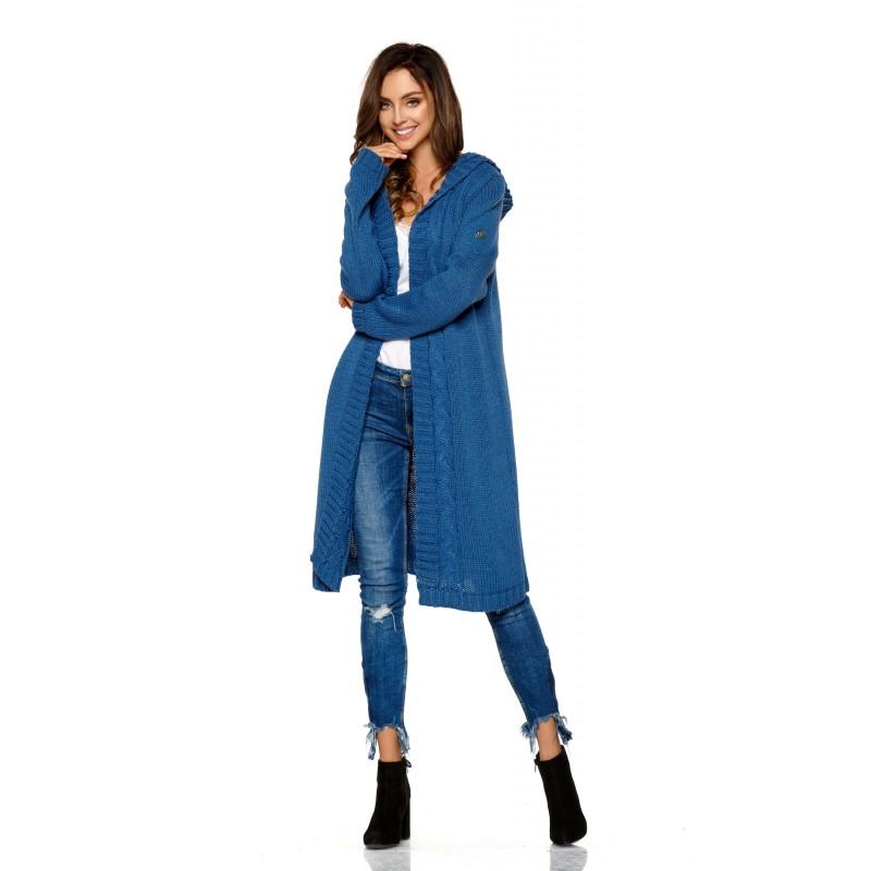 Cardigan dama lung tricotat cu gluga albastru inchis